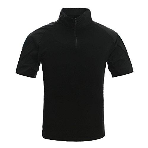 1e7ee819 TACVASEN Mens Tactical Military Combat Camo Paintball Airsoft Zipper Short  Sleeve Shirt