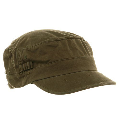 db112ba3640 Olive washed cotton Fitted Army Cap with Frayed Bill. Pre-curved visor.  Trendy style that works on almost everyone. Bill protect you from sun.