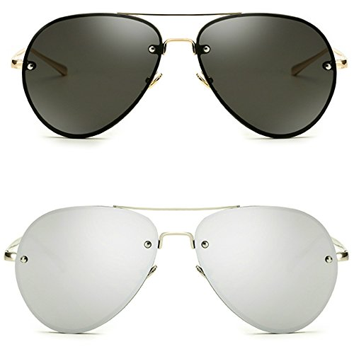 9ac71aaf5c1 Freckles Mark Oversize Gold Metal Mirror Clear Men Women Aviator Sunglasses  62mm 2 pack  Black+Silver