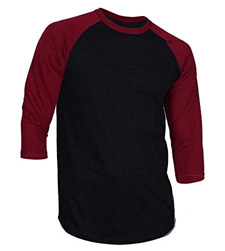 b1ea106eec33e3 Dream USA Men s Casual 3 4 Sleeve Baseball Tshirt Raglan Jersey Shirt  Black Burg XL