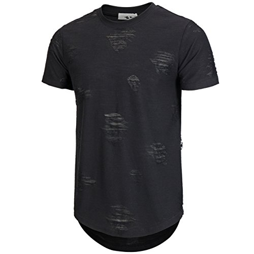 be529dd8835 KLIEGOU Mens Hipster Hip Hop Ripped Round Hemline hole T Shirt1705. Long  Sleeve.