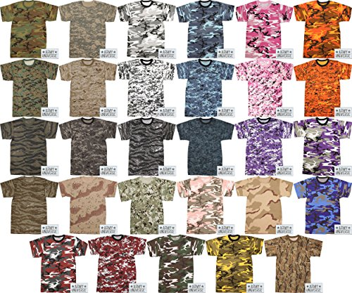 Army Universe Military Camouflage T-Shirt Camo Crewneck Tee Short Sleeve  Top With ArmyUniverse Pin d790593137f