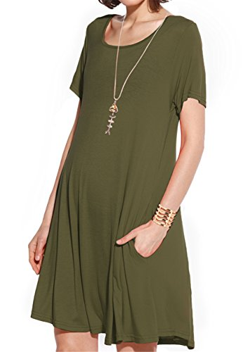 64b68cfb5ff Jl teamjollielovin women s summer scoop neck casual plain loose fit short  sleeve t-shirt swing tunic dress with Pockets An essential dress for summer  ...