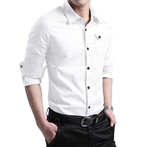 9c349146e78 LOCALMODE Men s Military Slim Fit Dress Shirt Casual Long Sleeve ...