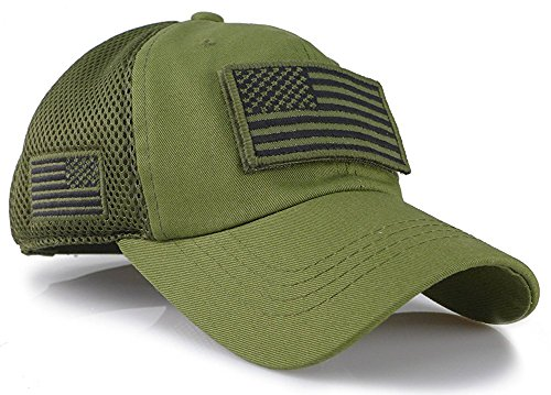 4c827a52f46 Camouflage Constructed Trucker Special Tactical Operator Forces USA Flag  Patch Baseball Cap Army Green