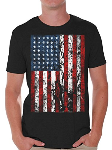 c158511f Awkwardstyles American Flag Distressed T-Shirt 4th July Shirt + Bookmark M  Black