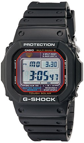 Black resin band digital watch with neutral face. Casual solar-powered watch with multiple functions including multi-band atomic timekeeping, EL backlight, ...