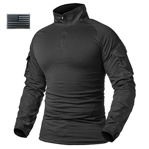 d7e0e2ff3145 ReFire Gear Men's Military Tactical Army Combat Long Sleeve Shirt Slim Fit Camo  T-Shirt with 1/4 Zipper, Black, US X-LargeTag 3XL