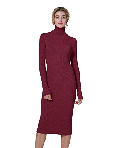 3e71ab4dd72 ninovino Women s Turtleneck Ribbed Long Sleeve Bodycon Sweater Dress. Sexy  Bodycon Style. Garment care hand machine Washable. Washing in cold water