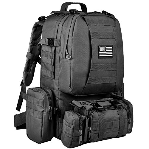 CVLIFE Tactical Military Backpack 60L Built-up Army Rucksacks Outdoor 3 Day  Assault Pack Combat Molle Backpack for Hunting Hiking Fishing with Flag  Patch ... 1badc9c8fefb5