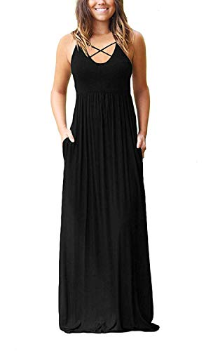 4acb33351dbbf LILBETTER Women s Sleeveless Racerback and Long Sleeve Loose Plain Maxi  Dresses Casual Long Dresses with Pockets