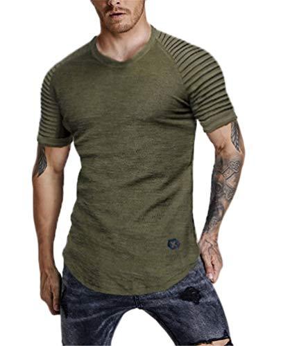 3c9adb0ae5b9 Nicetage Men's Tops Casual Pullover Hoodie Pleated Raglan Long Sleeve  Hooded Basic T-Shirt Slim Fit Sweatshirt
