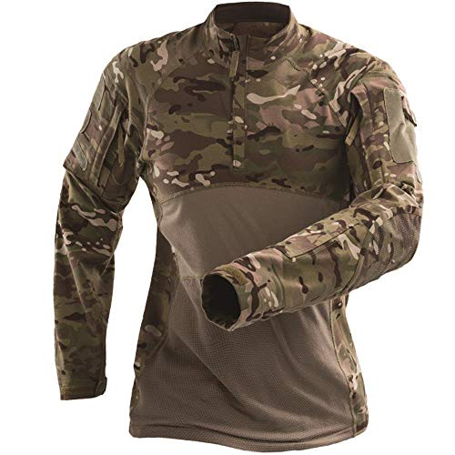 e797d64ea32f AKARMY Men's Tactical Military Combat Long Sleeve Camo Shirt with 1/4 Zipper
